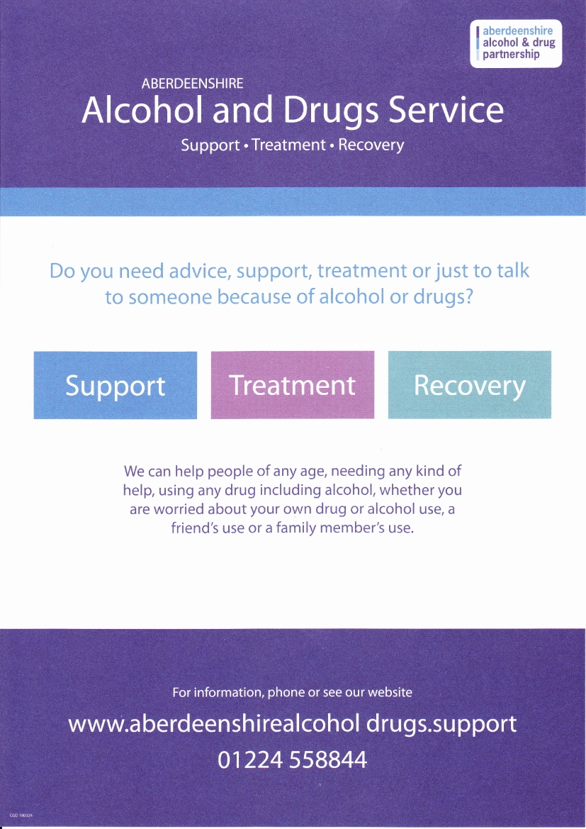 Aberdeenshire Alcohol and Drugs Service Poster